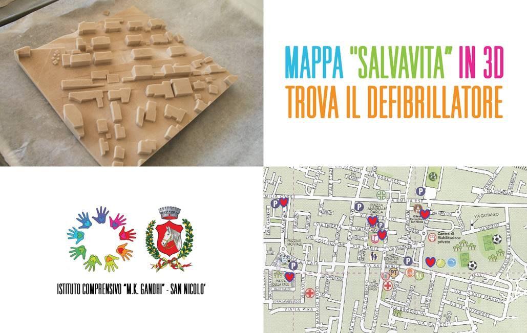 """Mappa """"salvavita"""" in 3D-Trova il defibrillatore!"""
